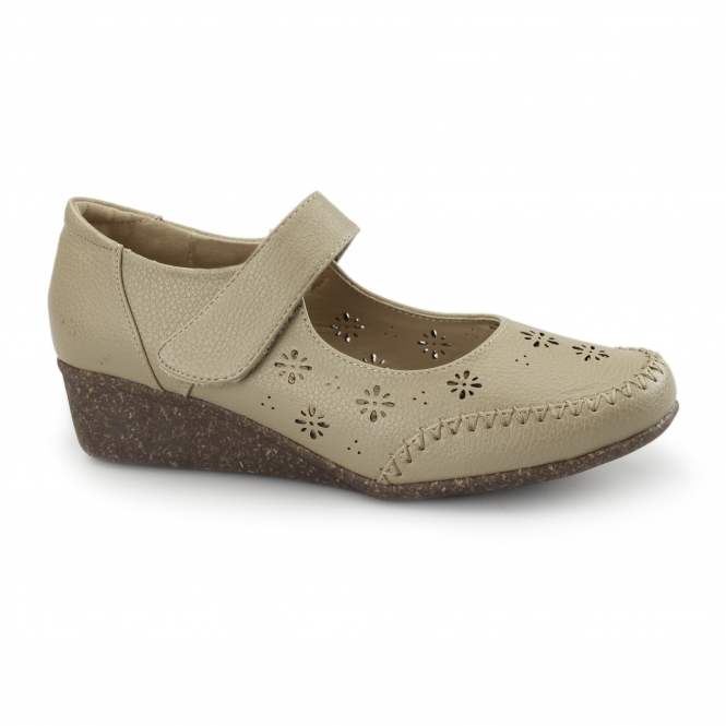 Natrelle BRONTE Ladies Velcro Mary Jane Shoes Beige