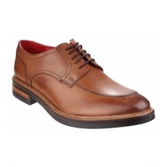 BROOKSBY Mens Leather Derby Shoes Tan