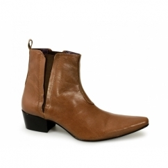 BRUNO Mens Leather Cuban Heel Pointed Boots Tan