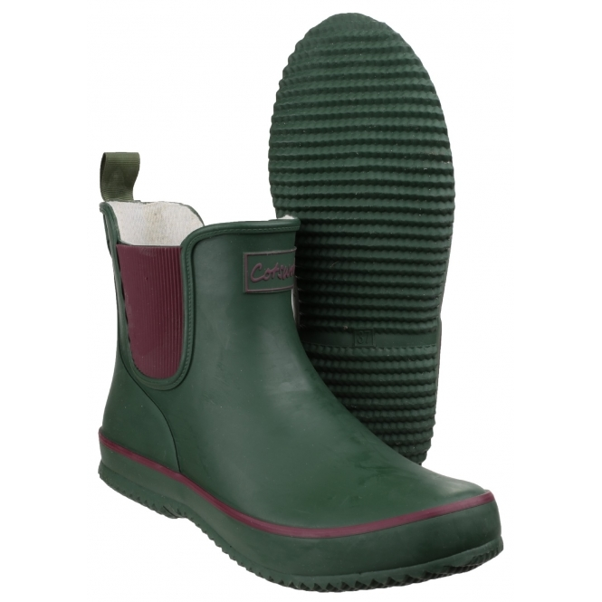 4db377acc Cotswold BUSHY Ladies Waterproof Rubber Ankle Boots Green | Shuperb