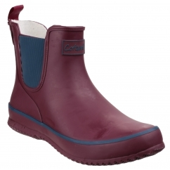 BUSHY Ladies Waterproof Rubber Ankle Boots Wine