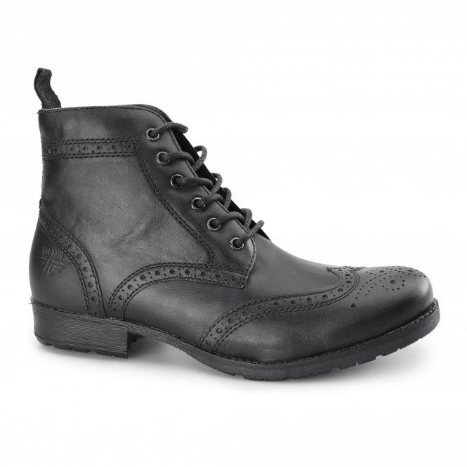Red Tape BUTLEY Mens Leather Brogue Military Boots Black