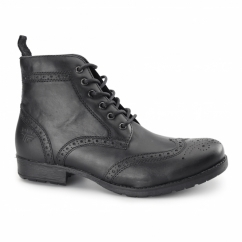 BUTLEY Mens Leather Brogue Military Boots Black