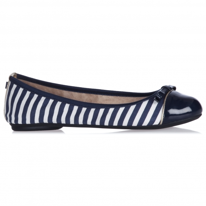 Butterfly Twists CARA Ladies Ballerina Flats Navy/White Stripe