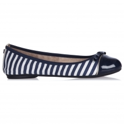 Butterfly Twist CARA Ladies Ballerina Flats Navy/White Stripe