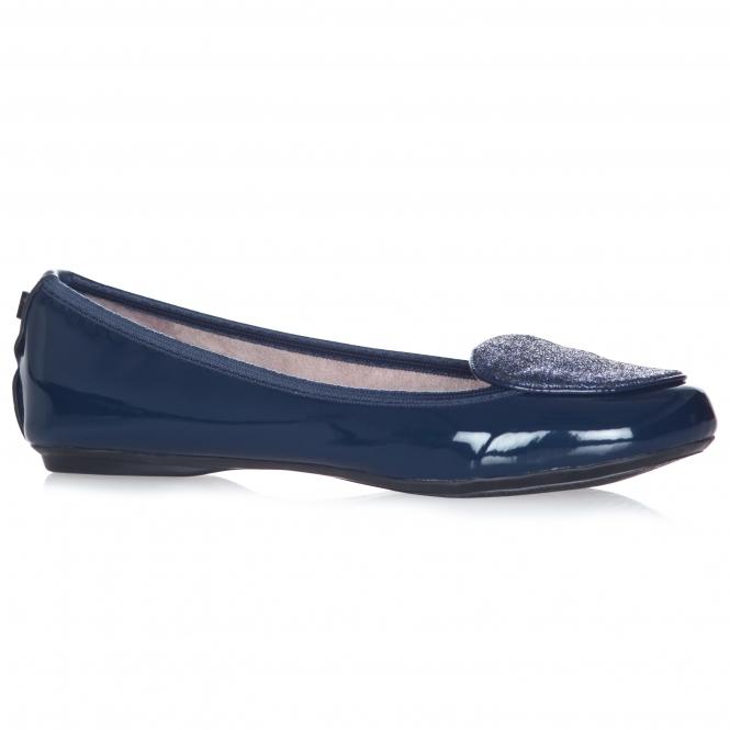 2019 Ausverkauf 2018 Schuhe üppiges Design EVIE Ladies Patent Ballerina Shoes Navy
