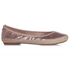 Butterfly Twist GIGI Ladies Woven Ballerina Flats Cracked Rose Gold
