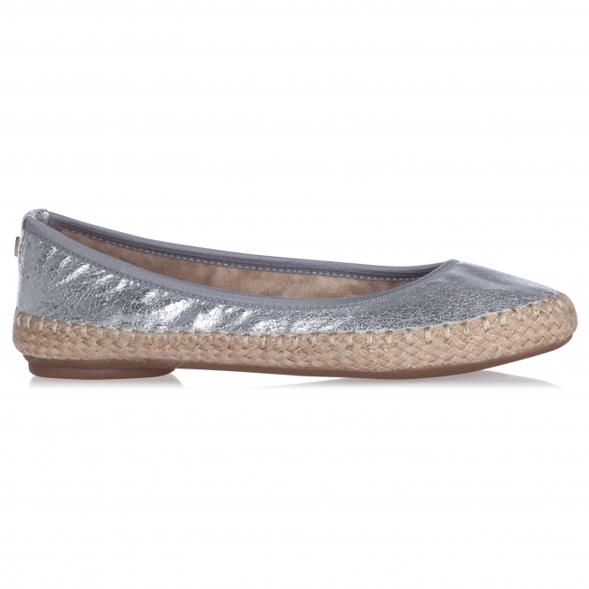 Butterfly Twists GIGI Ladies Woven Ballerina Flats Cracked Silver