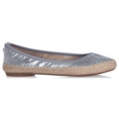 Butterfly Twist GIGI Ladies Woven Ballerina Flats Cracked Silver