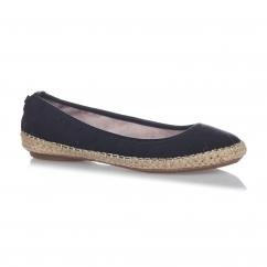GIGI Ladies Woven Trim Ballerina Flats Black Linen