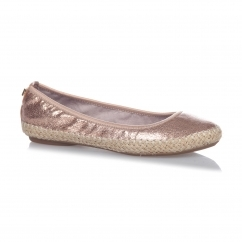 GIGI Ladies Woven Trim Ballerina Flats Rose Gold