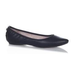 JANEY Ladies Textured Ballerina Flats Black