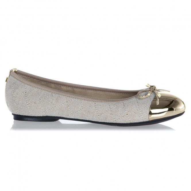 Butterfly Twists OLIVIA Ladies Linen Ballerina Flats Cream Gold ... 8c0a4b71c