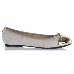 Butterfly Twist OLIVIA Ladies Linen Ballerina Flats Cream/Gold