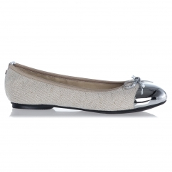 Butterfly Twist OLIVIA Ladies Linen Ballerina Flats Cream/Silver