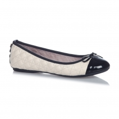 OLIVIA Ladies Quilted Ballerina Flats Cream/Black