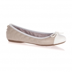OLIVIA Ladies Quilted Ballerina Flats Nude/White