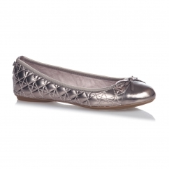 OLIVIA Ladies Quilted Ballerina Flats Pewter