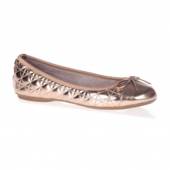 OLIVIA Ladies Quilted Ballerina Flats Rose Gold