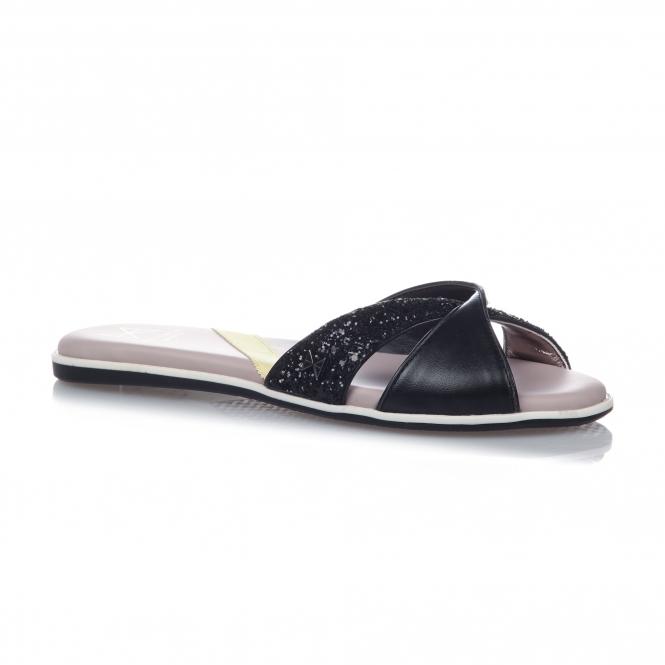 dd26777b2aed Butterfly Twistss ORA Ladies Slip On Sandals Black Glitter | Shuperb
