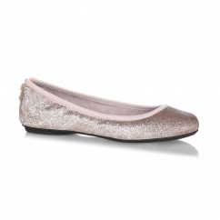 SOPHIA Ladies Ballerina Flats Rose Gold Glitter