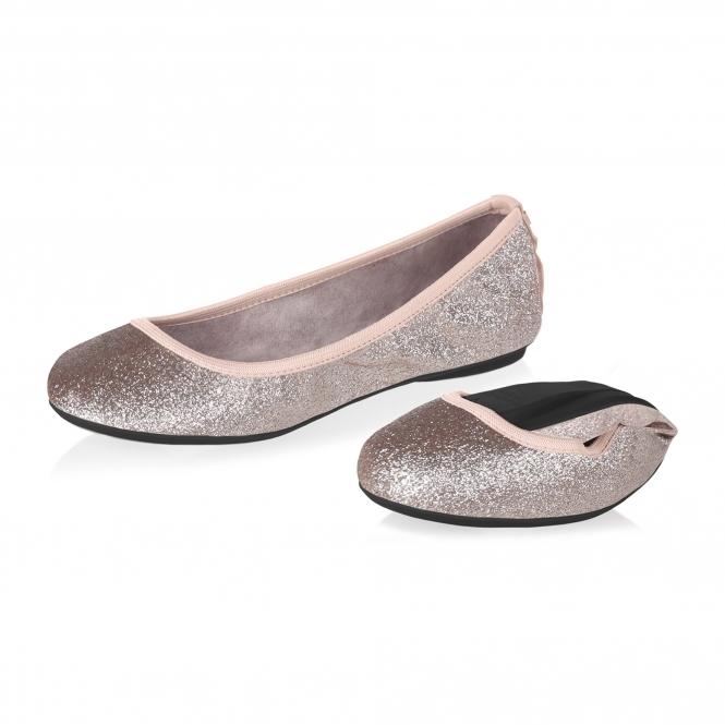 56e77e6360aeee Butterfly Twistss SOPHIA Ladies Ballerina Flats Rose Gold Glitter ...