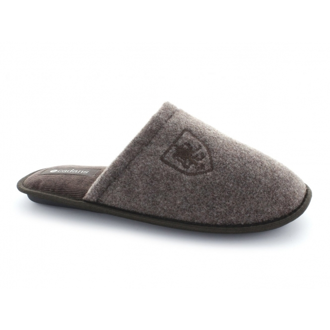Cadans WARREN Mens Warm Padded Mule Slippers Brown