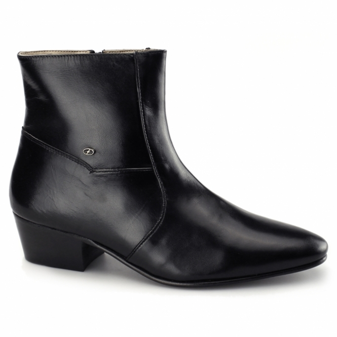 mens cuban heel dress boots plain leather black buy at