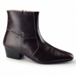 CAESAR Mens Cuban Heel Plain Leather Boots Brown