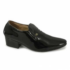 CALAIS Mens Patent Leather Plain Cuban Heel Shoes Black