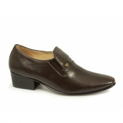 CALAIS Mens Soft Leather Plain Cuban Heel Shoes Brown