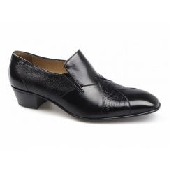 CALIFORNIA Mens Leather Reptile Effect Cuban Heel Shoes Black