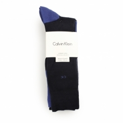 CREW Mens Cotton Socks 4 Pack Navy/Dark Blue Marl/Royal Blue