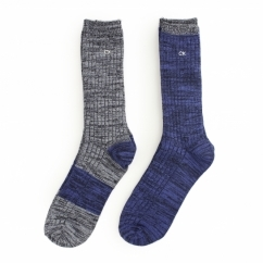CREW Mens Ribbed Cotton Socks 2 Pack Blue/Light Blue Marl