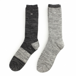 CREW Mens Ribbed Cotton Socks 2 Pack Charocoal/Grey Marl