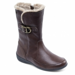 CAMDEN Ladies Leather Extra Wide Faux Fur Boots Brown