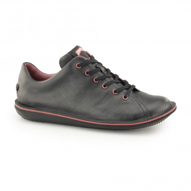 Camper BEETLE Mens Leather Lace Up Trainers Black