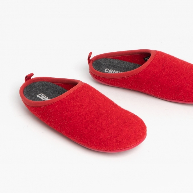 where to buy high quality hot sale online Camper WABI Ladies House Comfort Felt Warm Mule Slippers Red | Shuperb