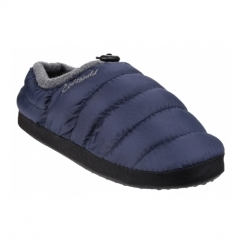 CAMPING Mens Faux Fur Camping Slippers Navy