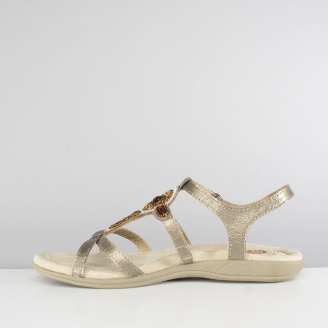 2800bb5609d56 Earth Spirit CAPE CORAL Ladies Touch Fastening Strappy Sandals Platinum
