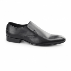 CAPITAL SOFTY Mens Leather Slip On Shoes Black