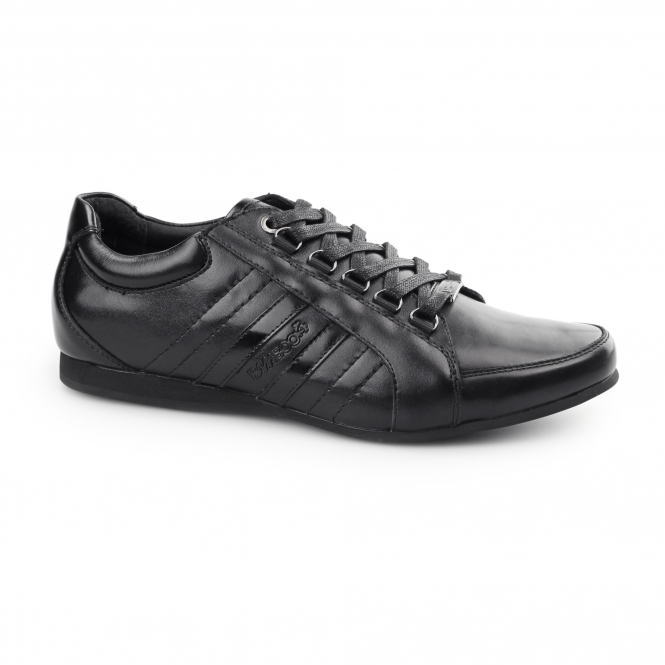 BambooA CARDUCCI Mens Leather Lace Up Trainer Shoes Black