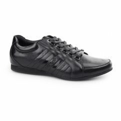 CARDUCCI Mens Leather Lace Up Trainer Shoes Black