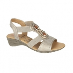 CARLA Ladies Bejewelled Halter Back Elasticated Sandals Bronze
