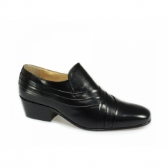 CARLOS Mens Soft Leather Pleated Cuban Heel Shoes Black