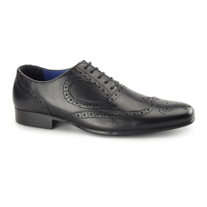 Red Tape CARLOW Mens Leather Chisel Toe Brogues Black