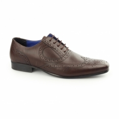 CARLOW Mens Leather Chisel Toe Brogues Bordo