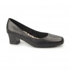 CARLY Ladies Wide Fit Block Heel Court Shoes Matte Black
