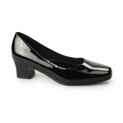 CARLY Ladies Wide Fit Block Heel Court Shoes Patent Black