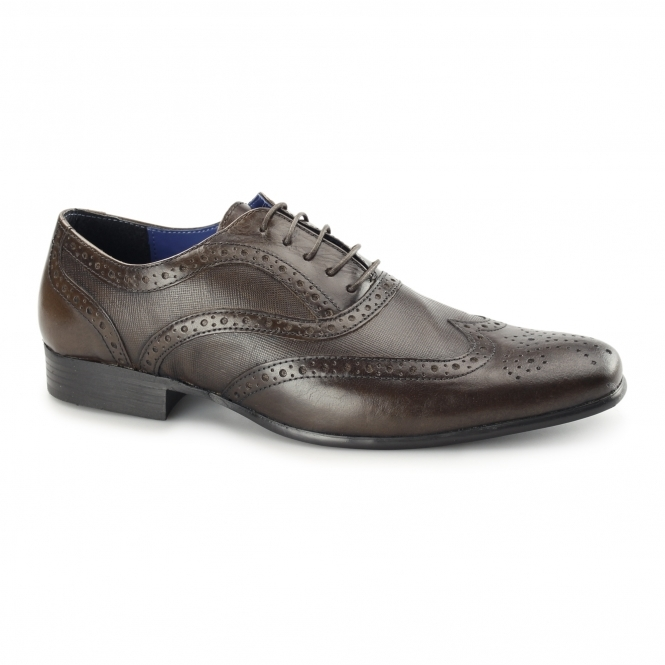 Red Tape CARN 2 Mens Leather Chisel Toe Brogues Brown